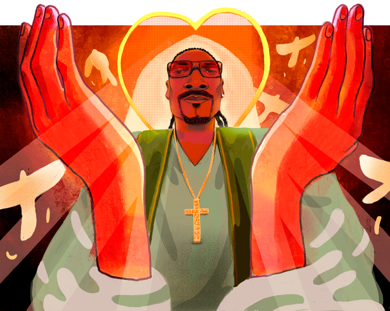 Client : EXCLAIM! - March 2018    Art Direction: Christine Mangosing & Stephen Carlick    'Snoop Dogg: The Bible of Love'