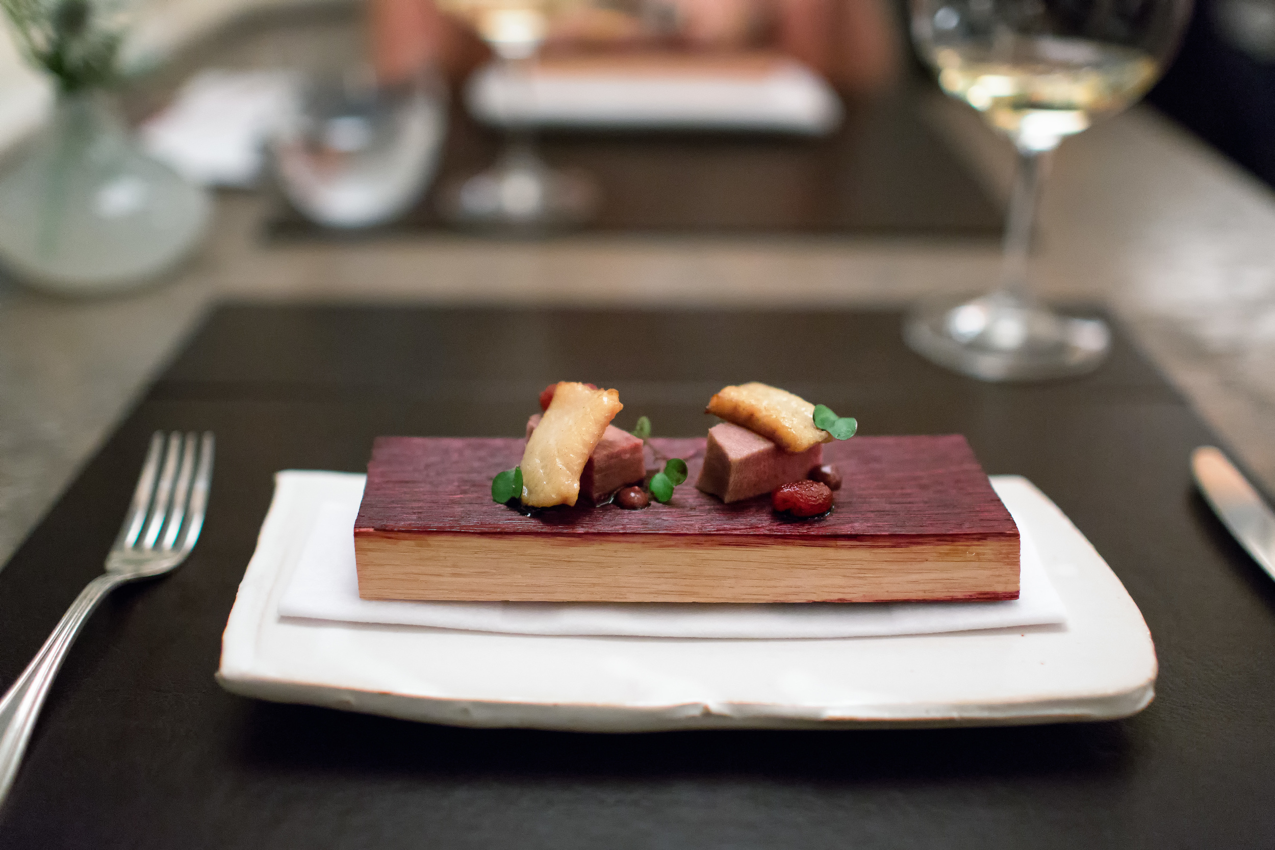 Eel Smoked Over Cabernet Barrel @ The Restaurant at Meadowood (Napa Valley, California).