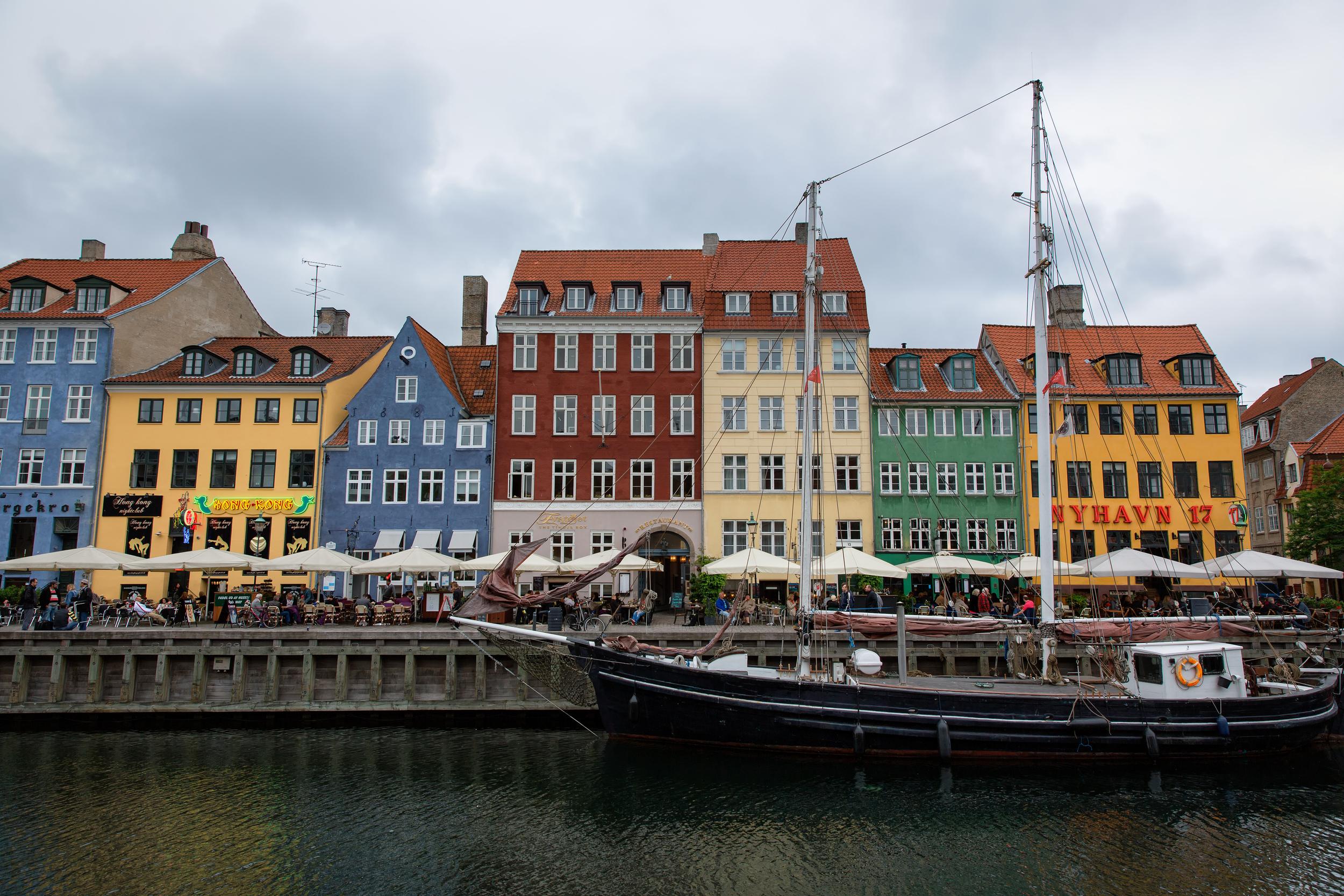 Nyhavn (Copenhagen, Denmark).