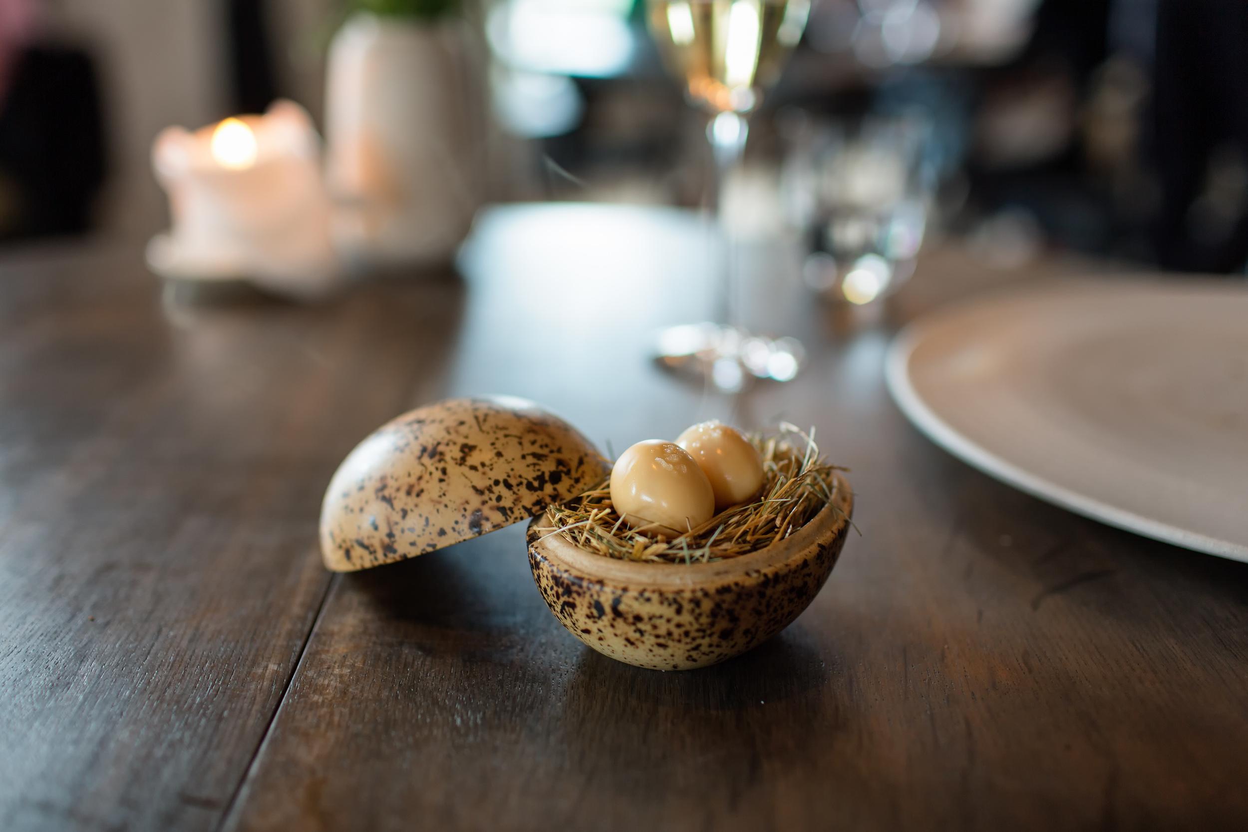 Pickled and smoked quails egg @ Noma (Copenhagen, Denmark).