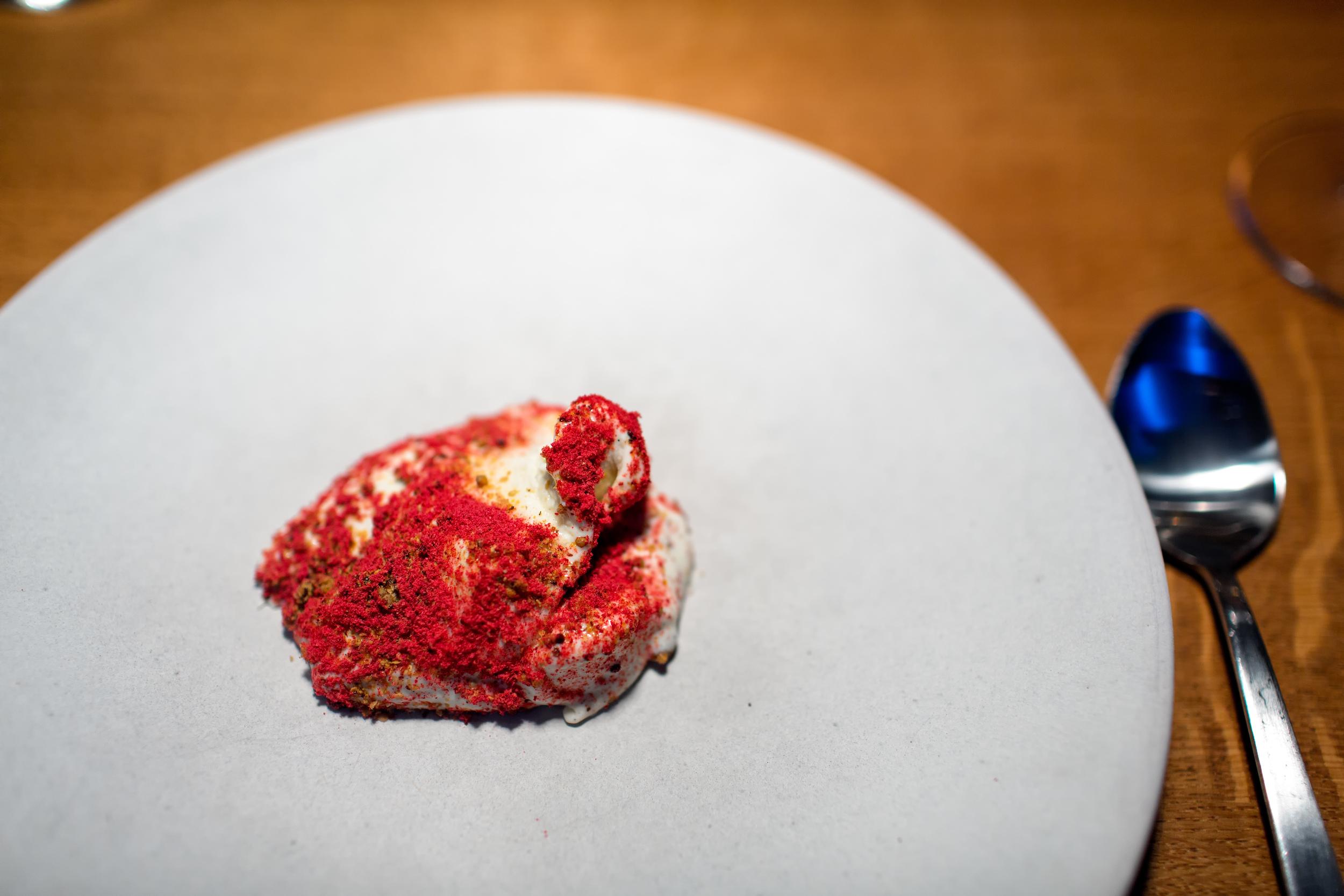 Vanilla ice, raspberry, caramelized mustard @ Relae (Copenhagen, Denmark).