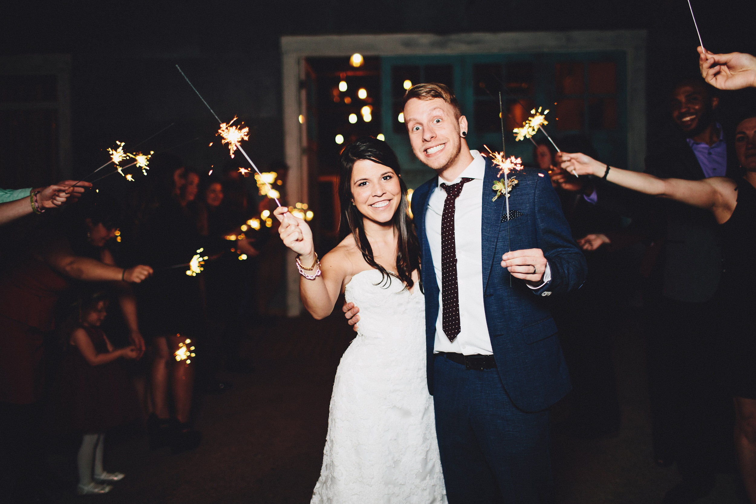 the union on eighth sparkler bride and groom