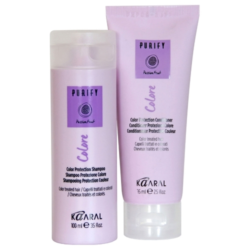 PURIFY COLORE PROTECTION SHAMPOO & CONDITIONER     IDEAL FOR COLOURED TREATED HAIR    Specifically formulated for coloured hair to help keep colour looking vibrant, radiant and beautiful.   Deeply nourishing, pH balanced formula restores smoothness to hair cuticles, affected by high alkaline in hair colour, to enhance colour clarity.   Blackberry vinegar acts as a powerful anti-oxidant, which helps fight free radicals, for long-lasting radiance.   Includes passionfruit and rice bran oil. No mineral oils, paraben-free, and gluten-free.