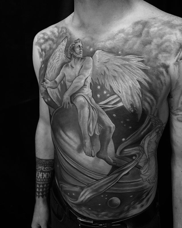 """Finished up this full frontal tattoo. Here's a fancy B&W photo, because redness happens. I'll post proper photos when it's all healed. I'm always thankful for the trust and commitment my clients give me, especially with large projects like this one. This tattoo was inspired by a piece of art created in 1883 titled """"Throne of Saturn"""" by artist Elihu Vedder. Purchased by the Smithsonian Art Museum. Swipe to check it out"""