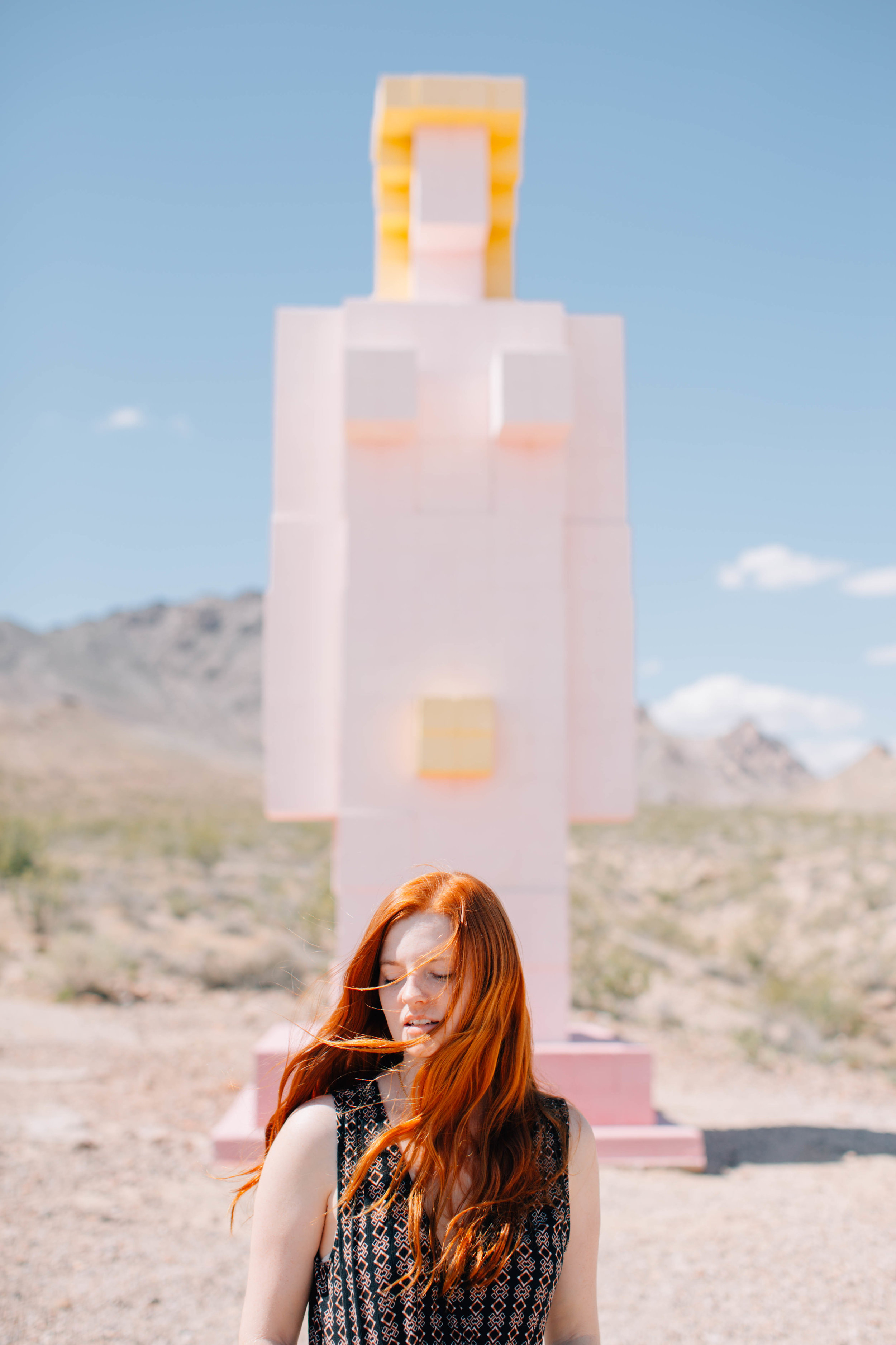 Another strange part of the ghost town - this giant naked lego lady.
