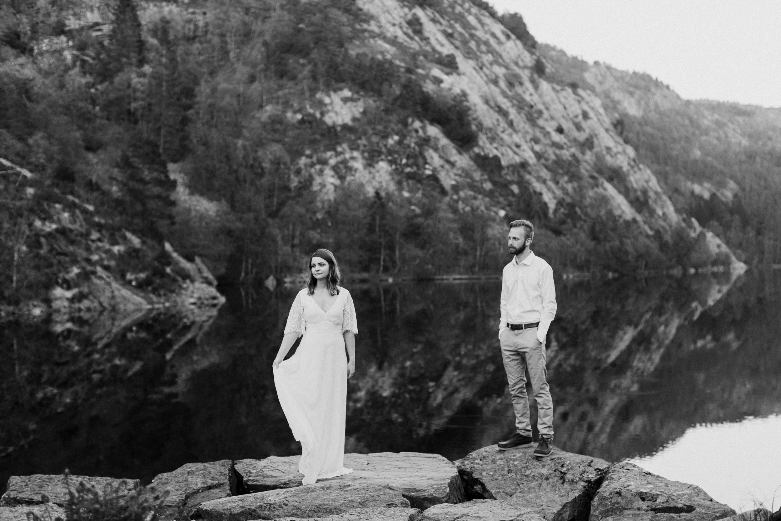 bride and groom by the lake in norway elopement