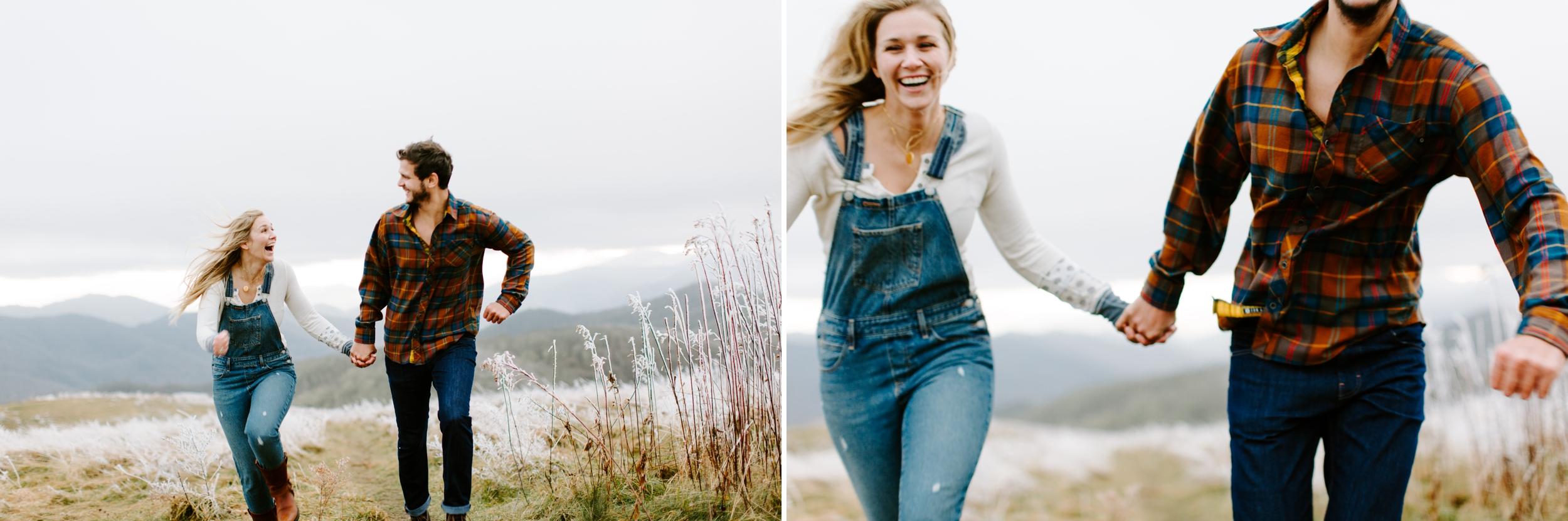 couple running on a mountain