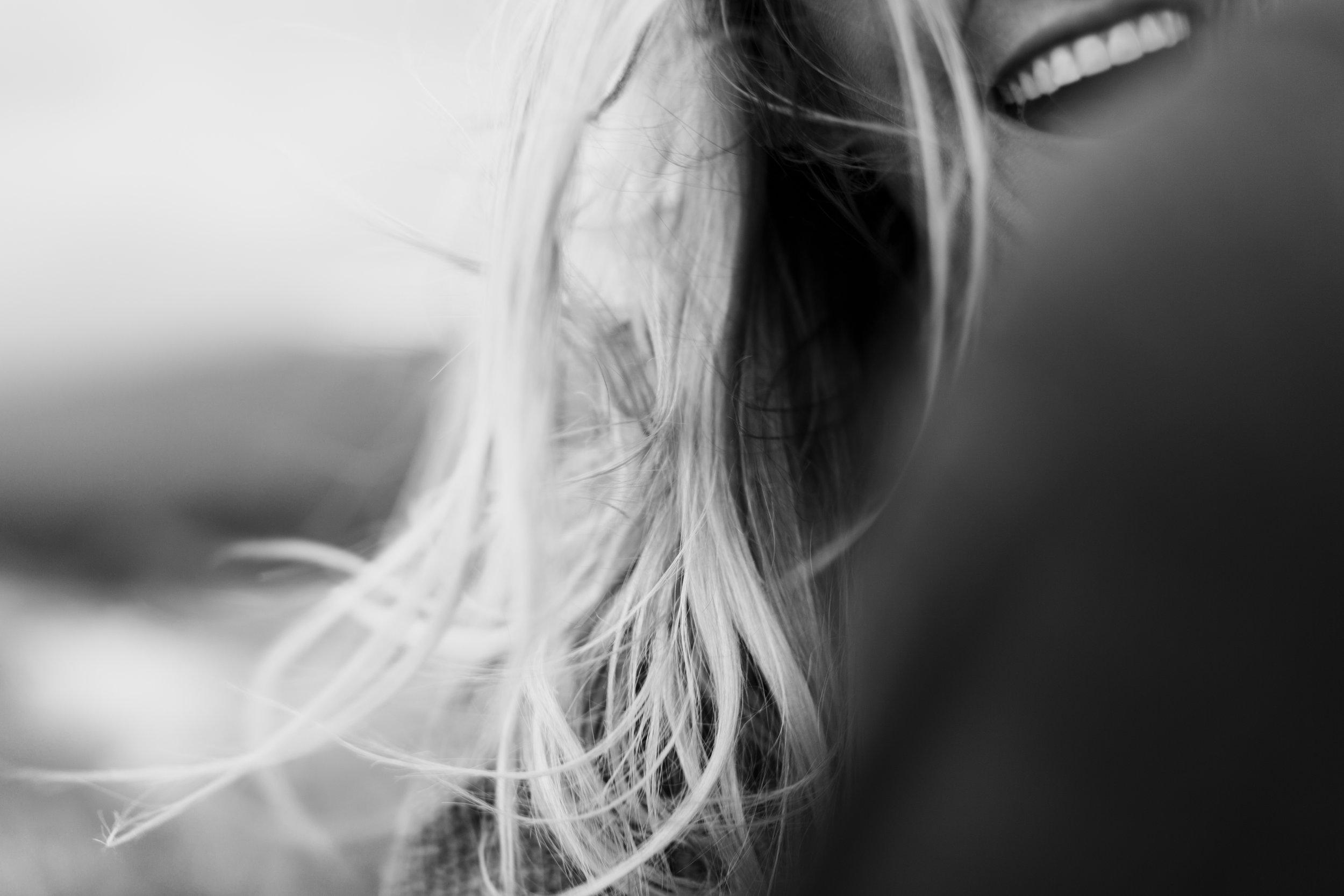 black and white joyful smile