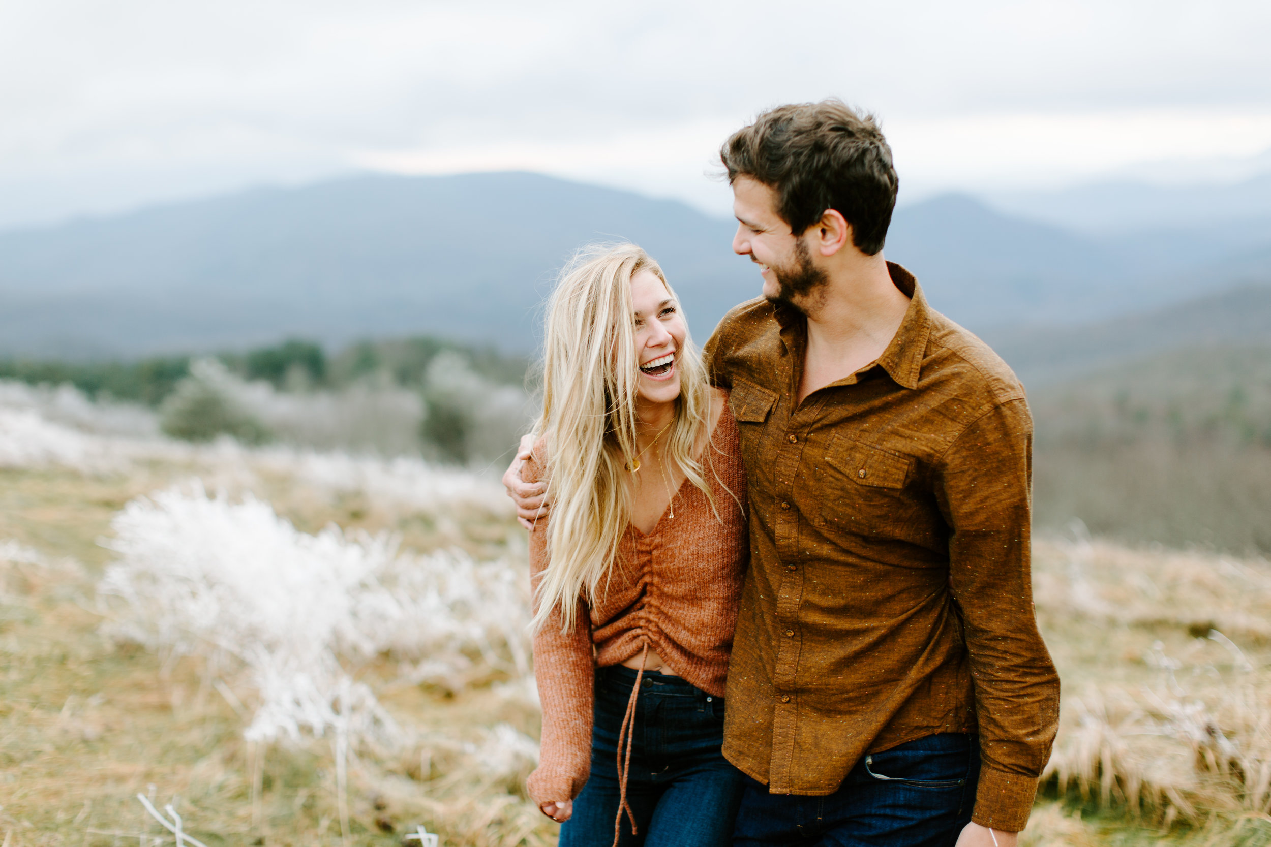 happy couple on mountain