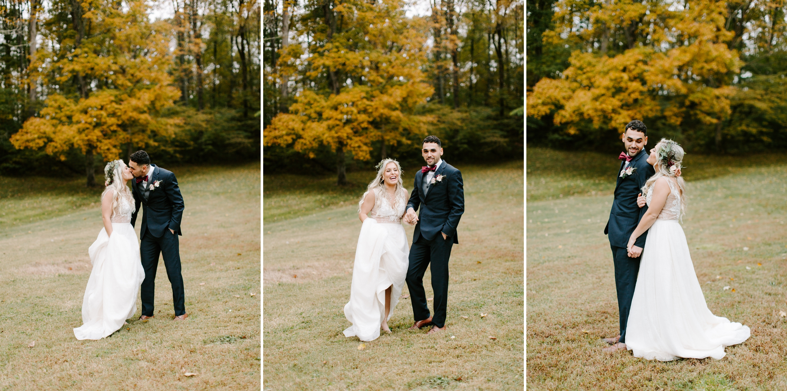 happy bride and groom fall wedding