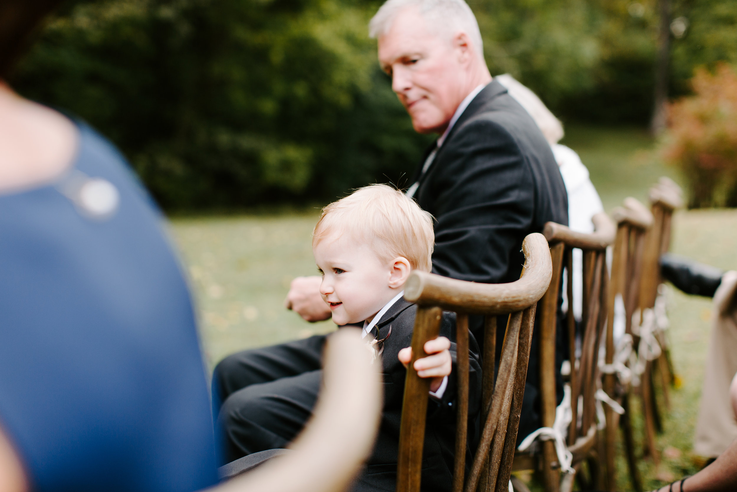 candids of little boy at wedding