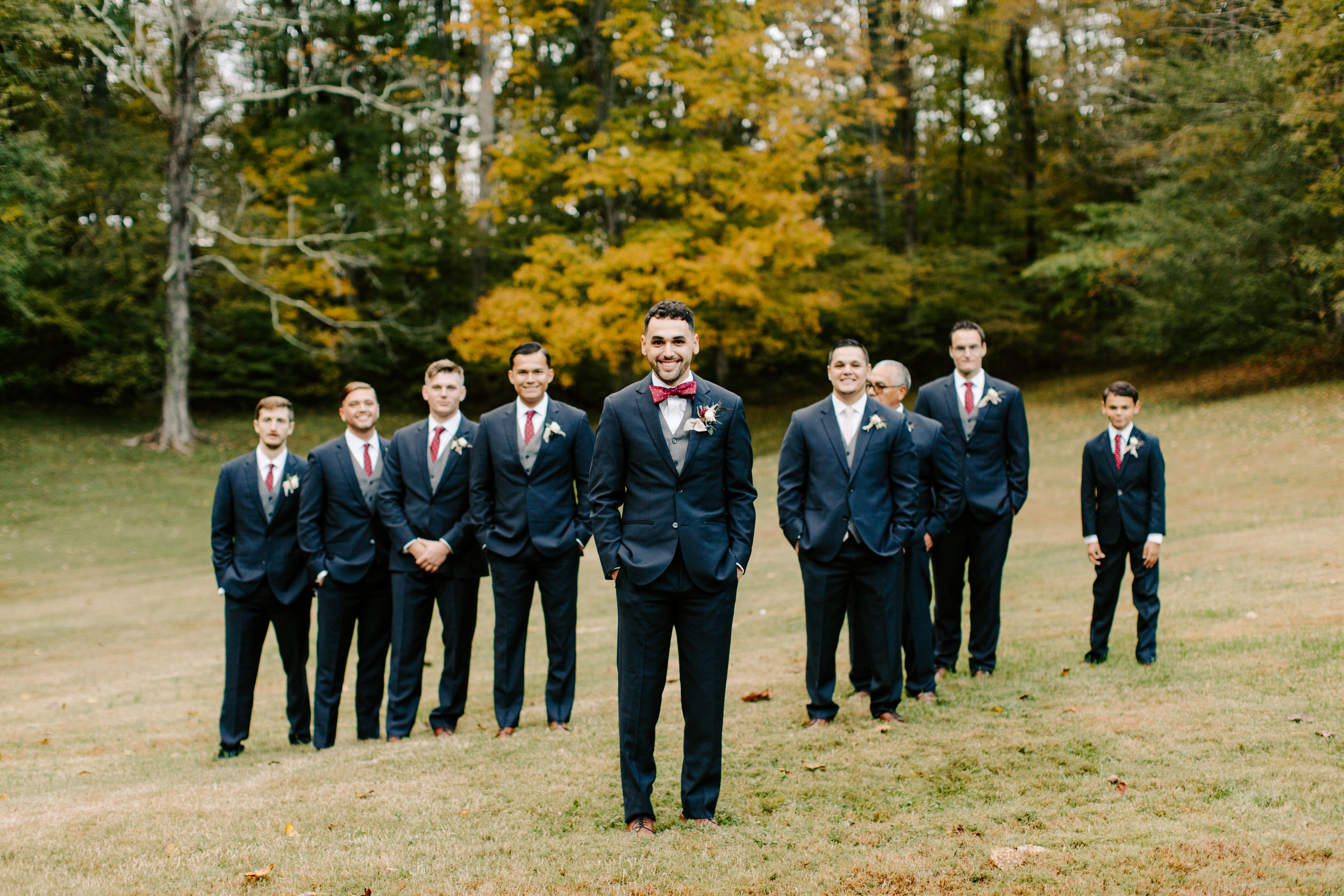 groomsmen in the fall