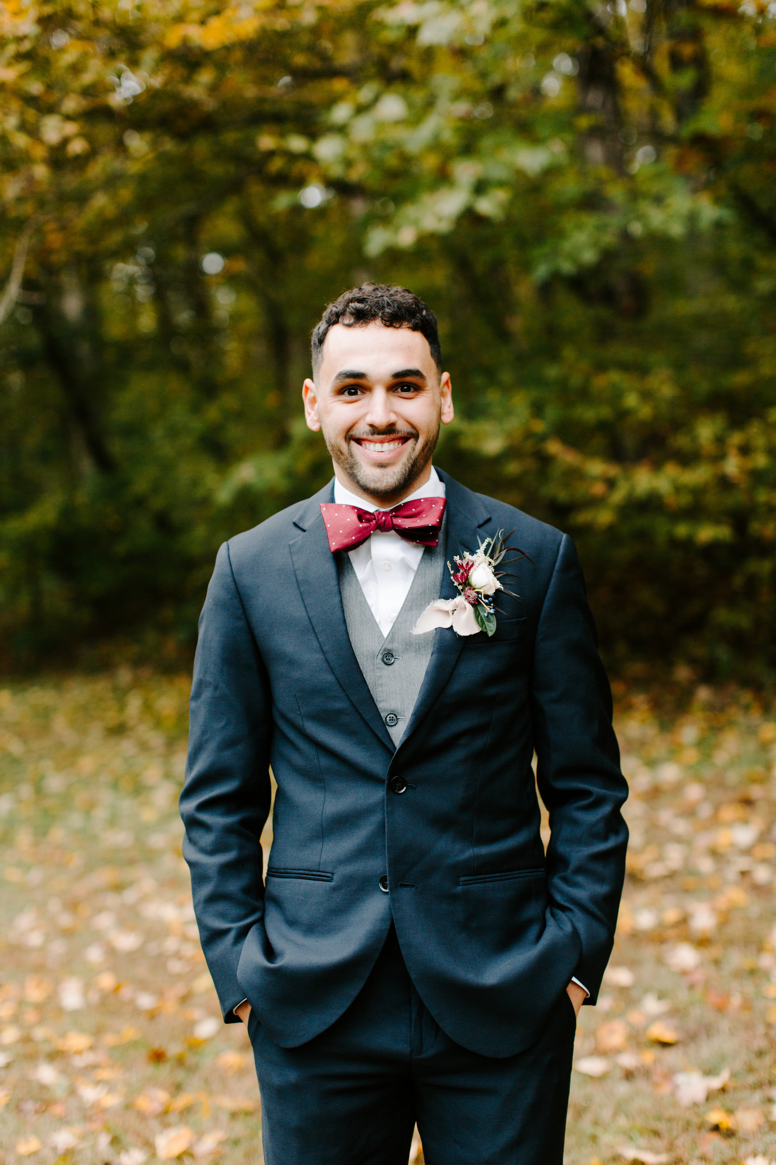 groom at his autumn wedding