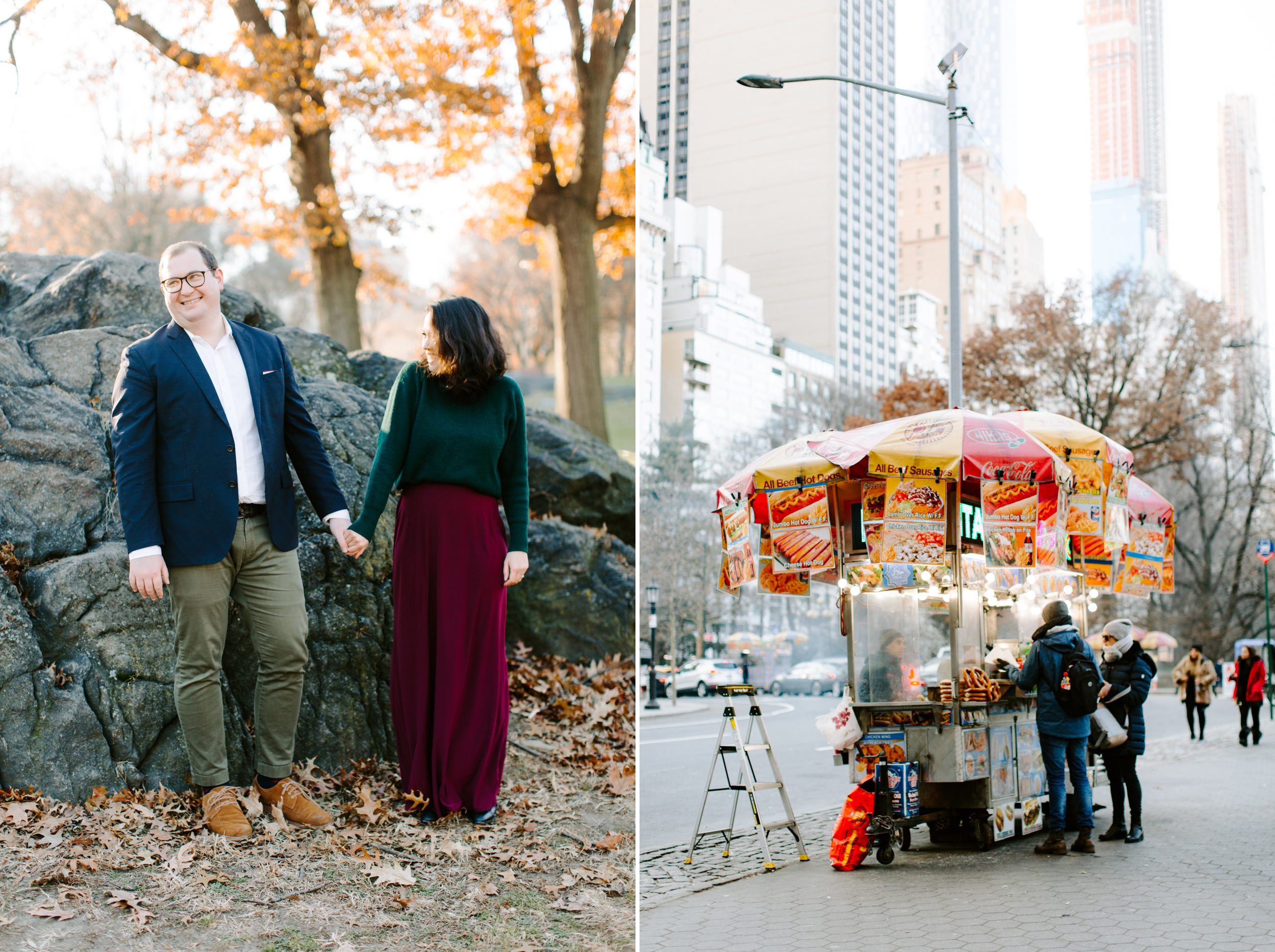 couple laughing in central park and nyc hotdog stand
