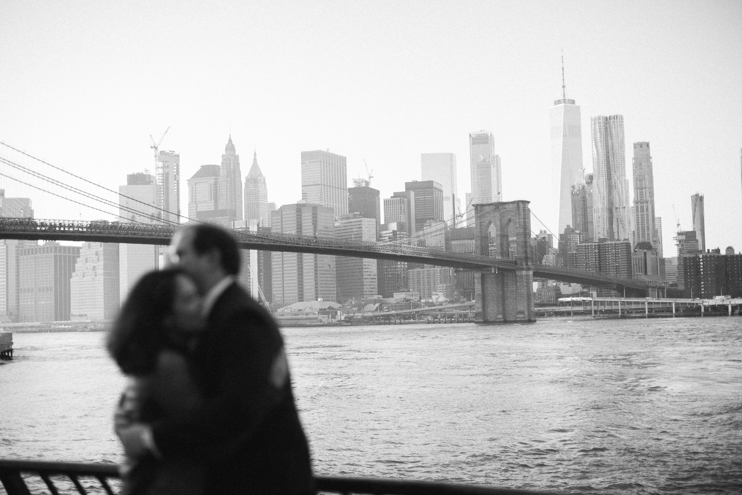 out of focus couple with manhattan in the background