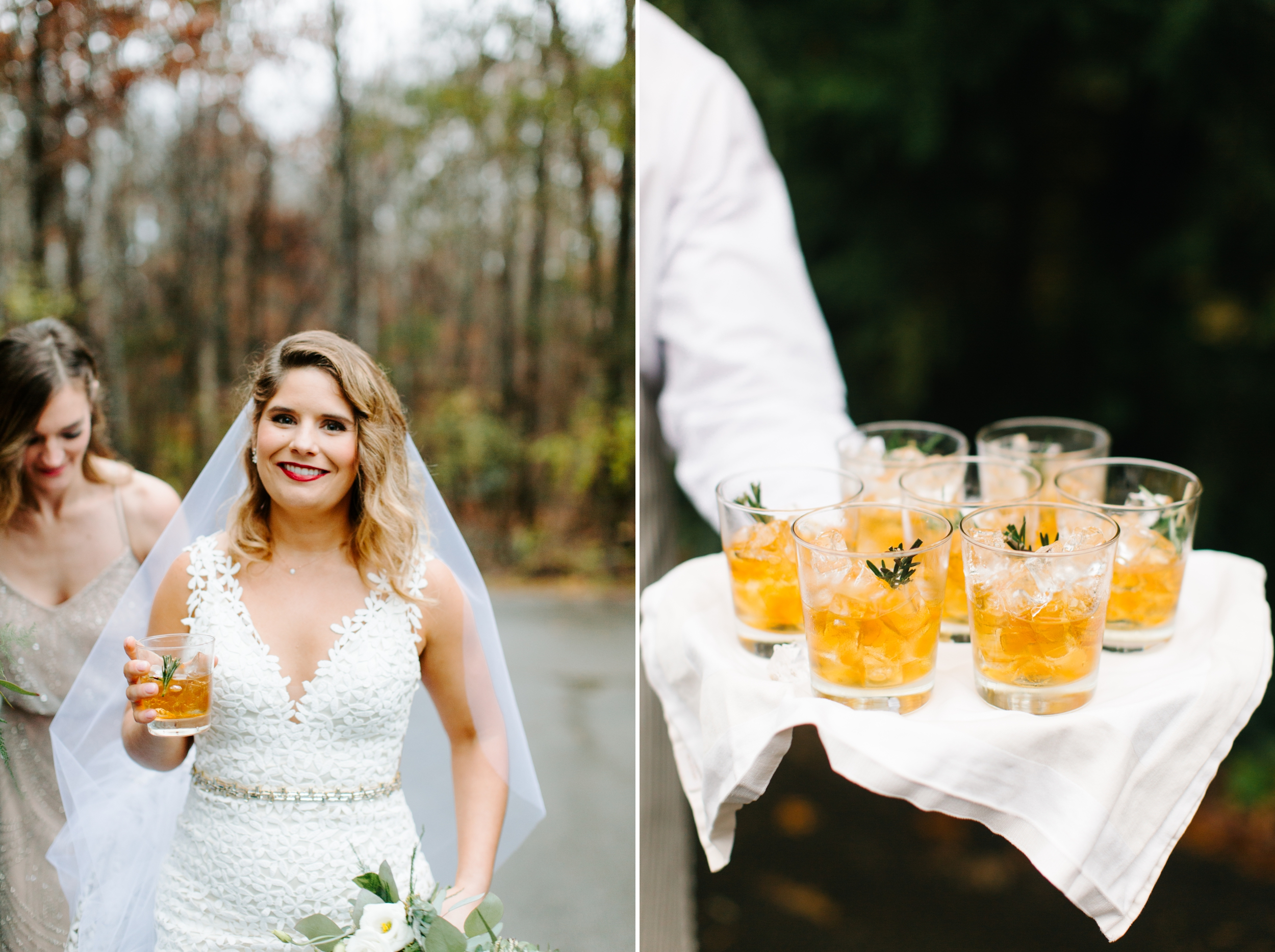 bride drinking old fashioned at rt lodge