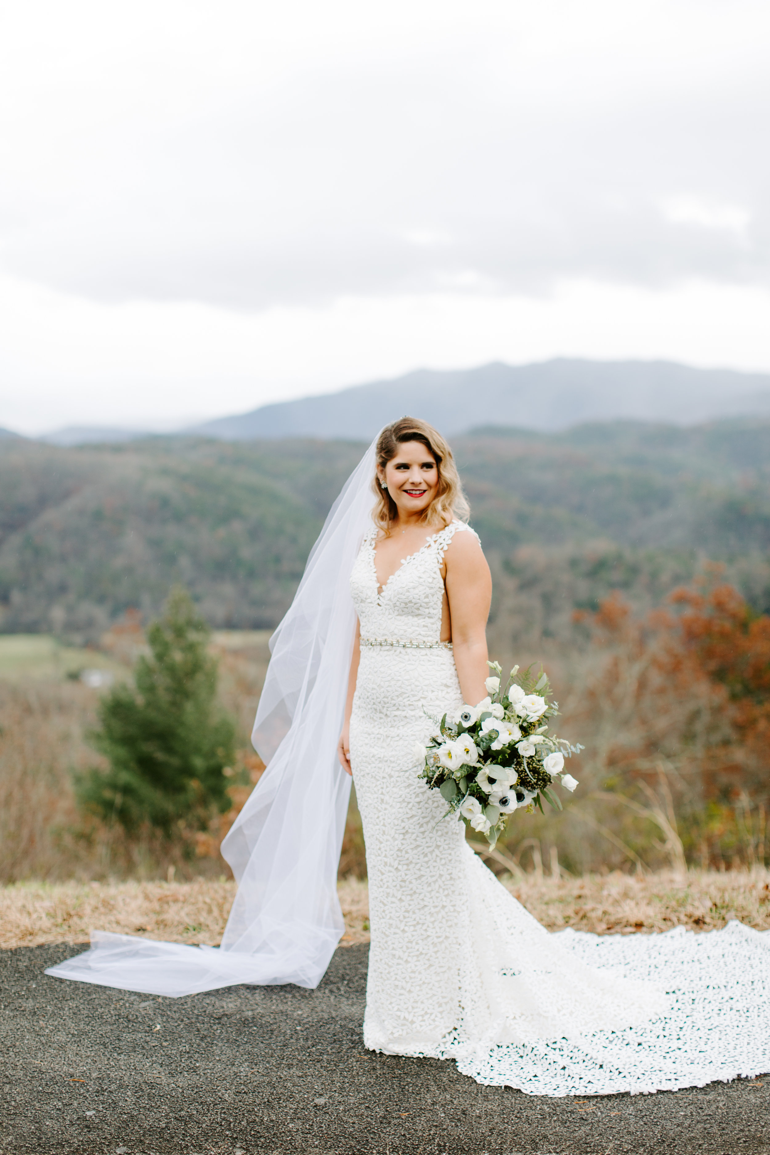 bridal portraits on the foothills parkway in the smoky mountains