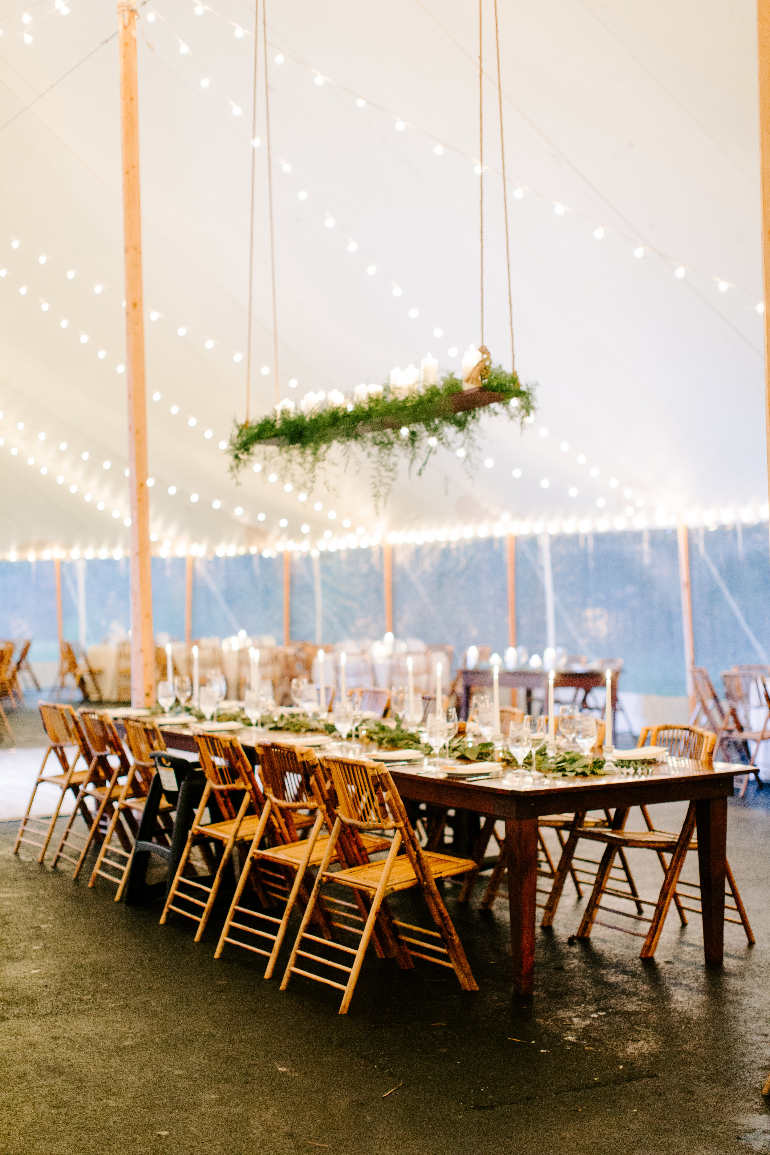 romantic details under the sperry tent by wade floral co