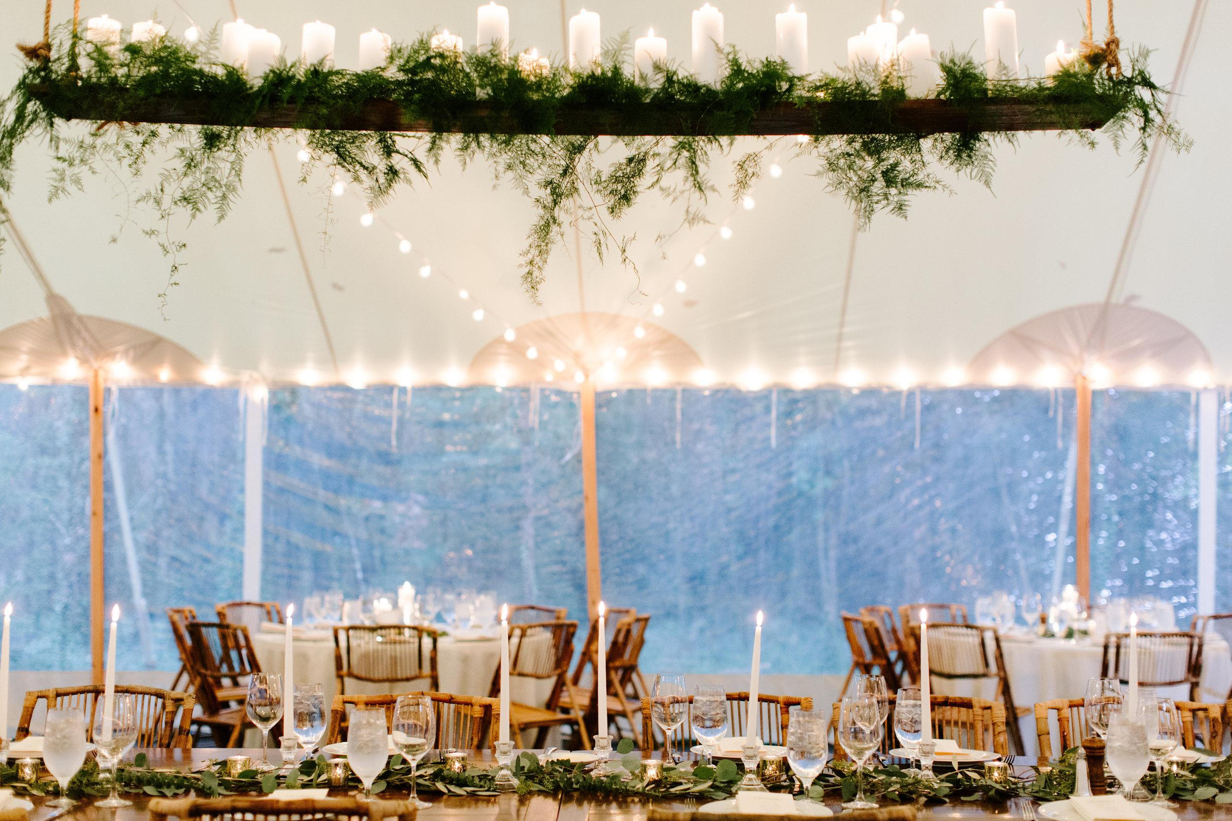 candlelit reception at rt lodge