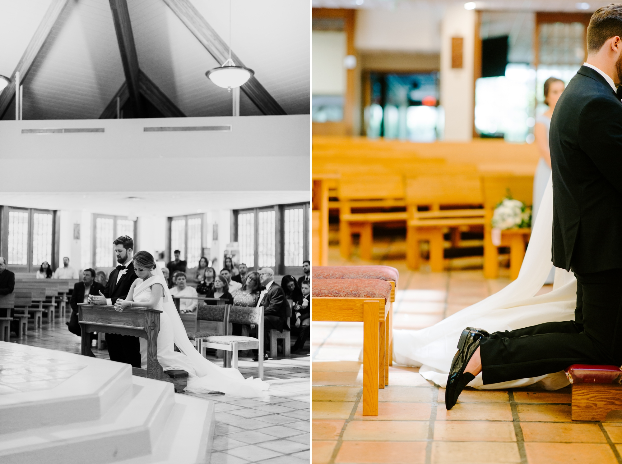 praying bride and groom