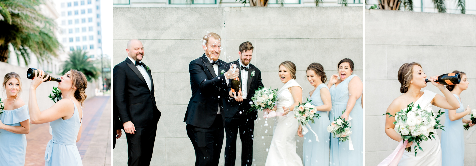wedding party drinking champagne out of the bottle