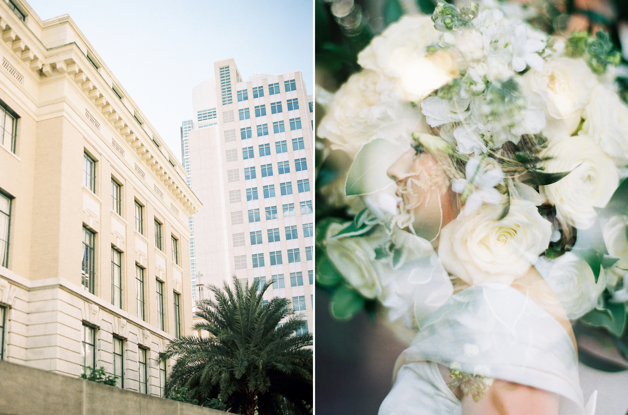 double exposure of bride and bouquet