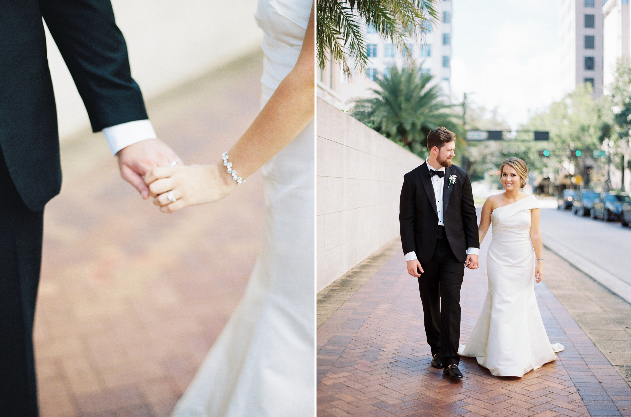 bride and groom walking in downtown tampa