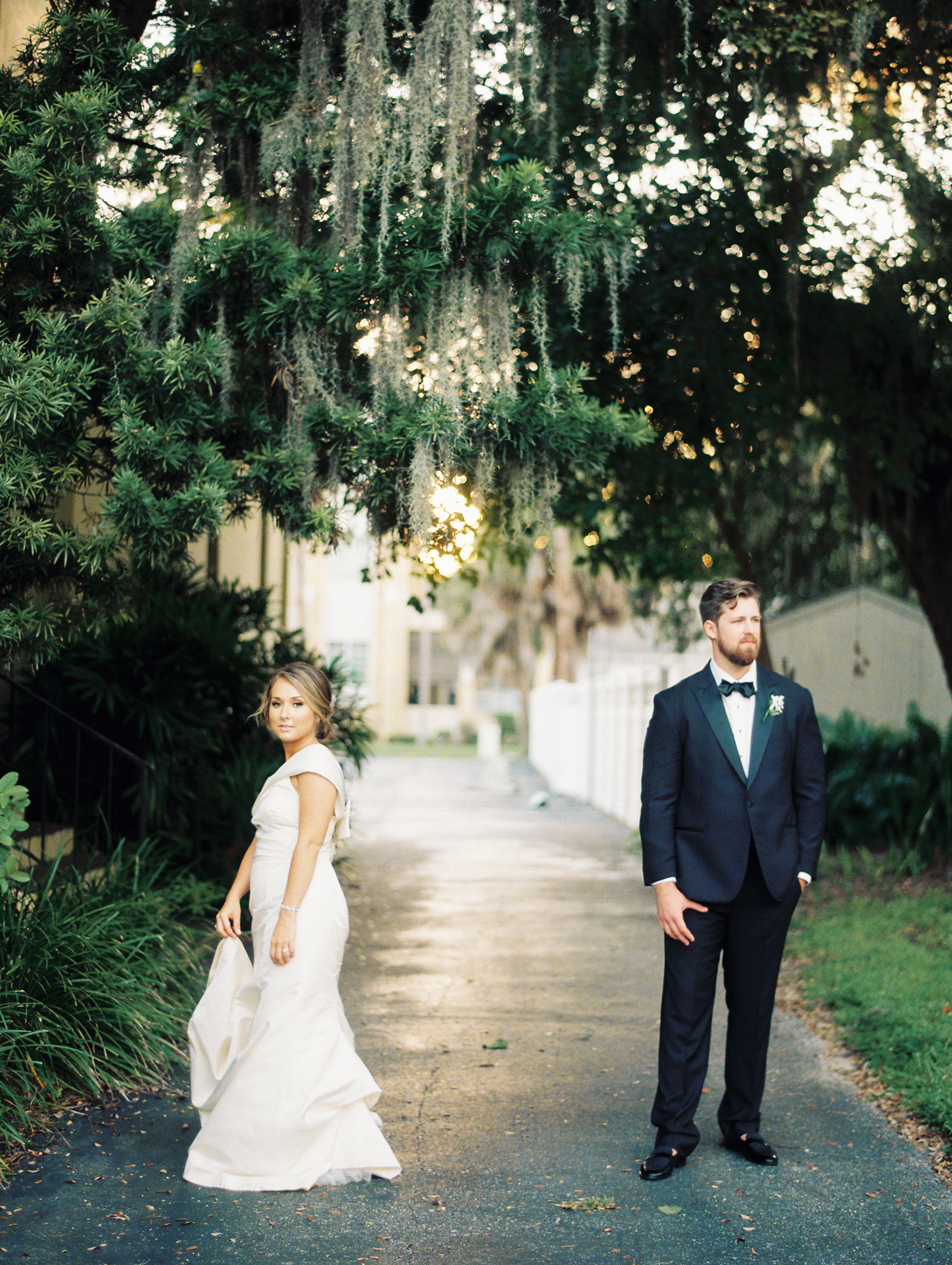 bride and groom at the orlo sunset
