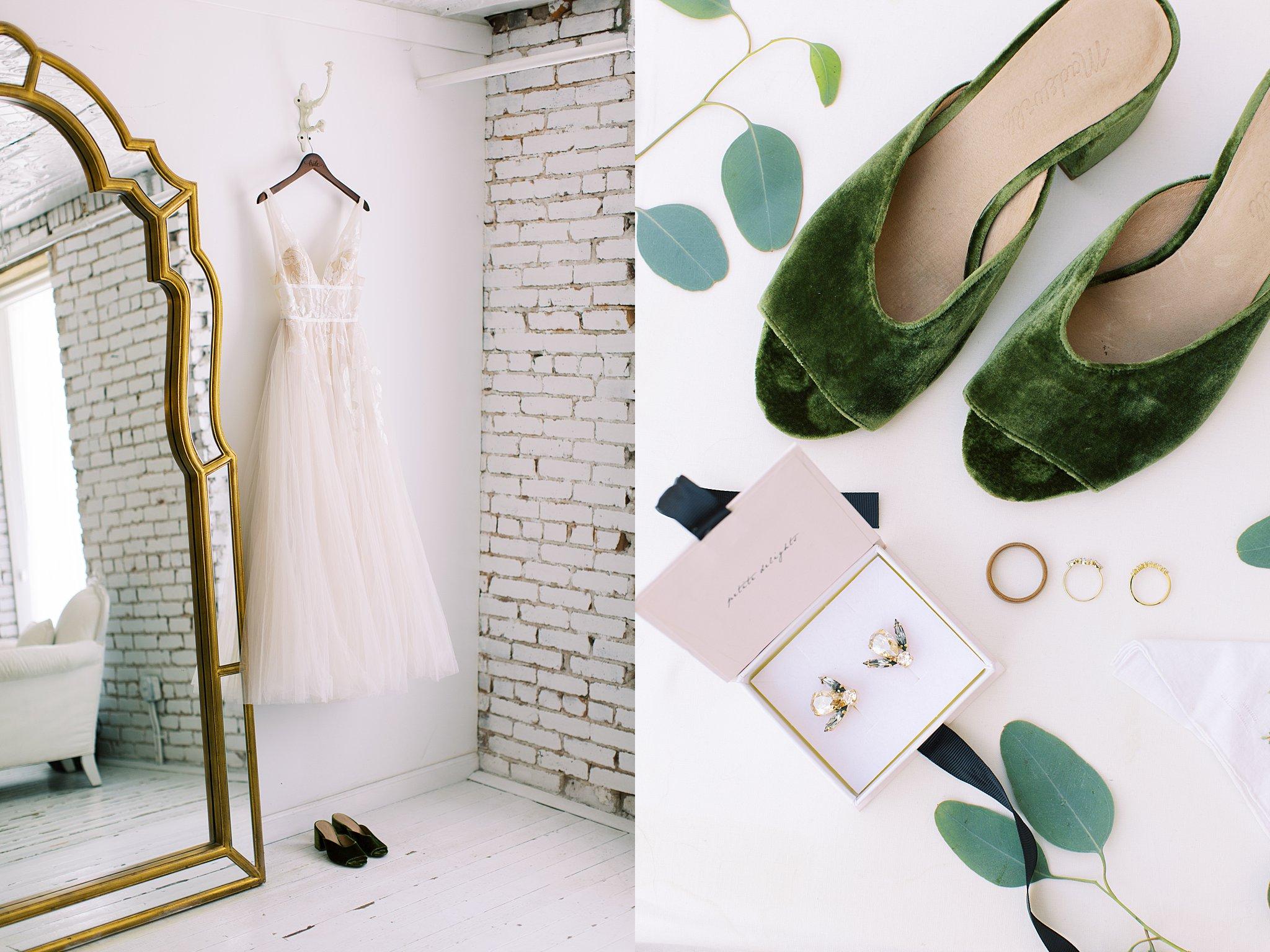 bhldn dress hanging and madewell green velvet shoes