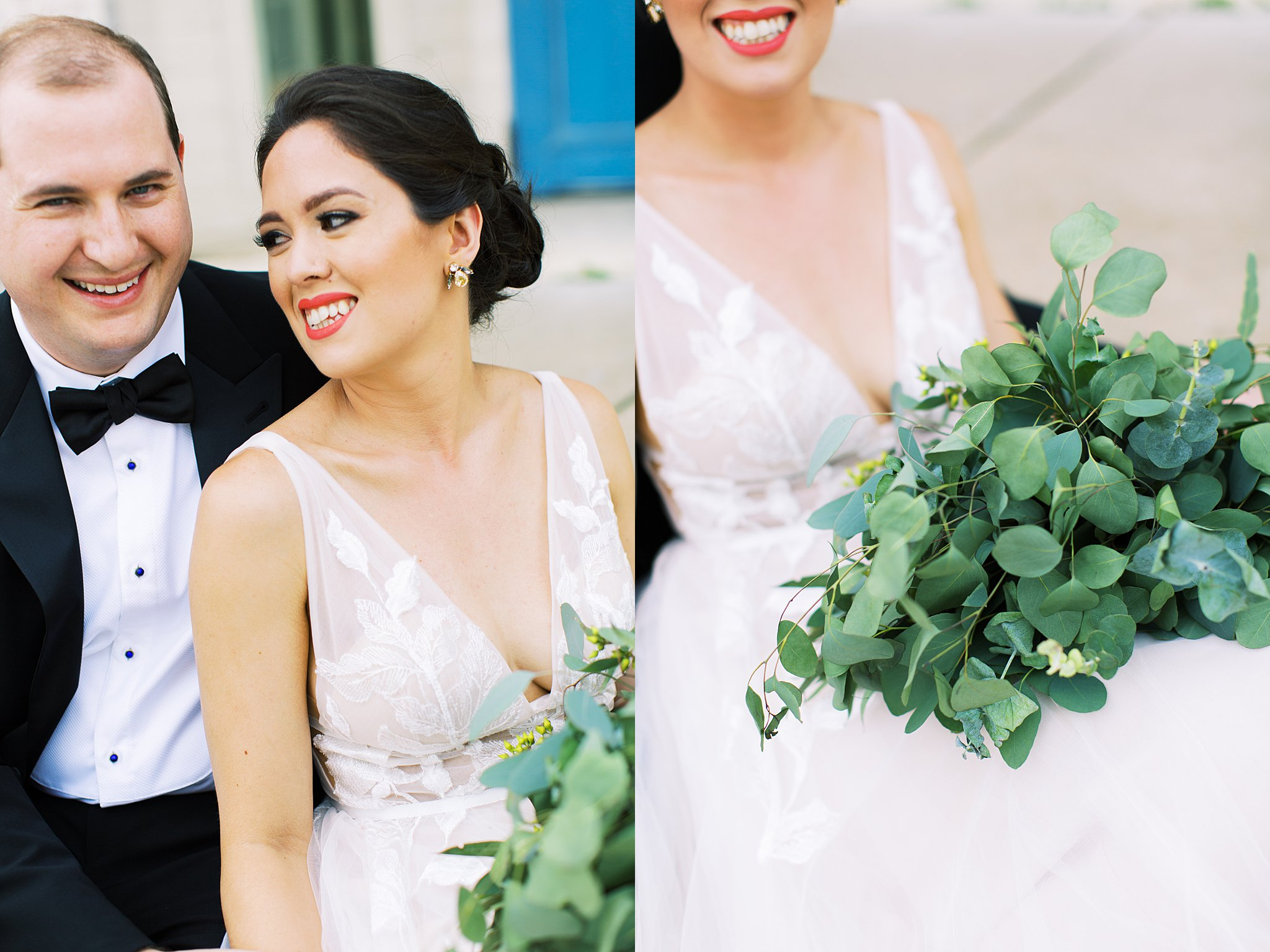 bride and groom with eucalyptus bouquet