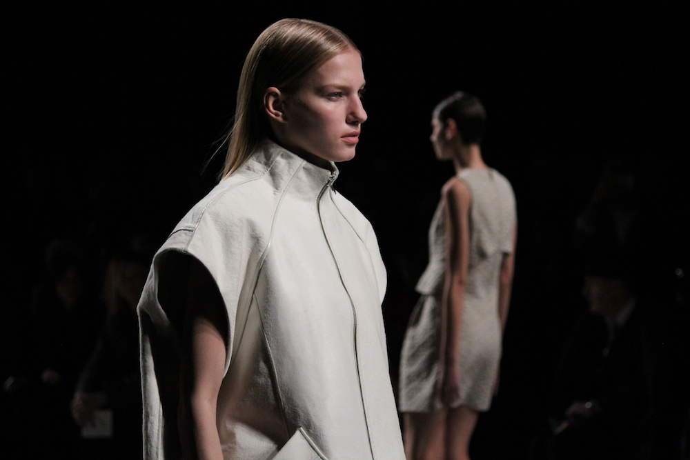 An example of the fall 2013 oversized, sculptural  trend at Theyskens' Theory. Photo by Mary O'Regan