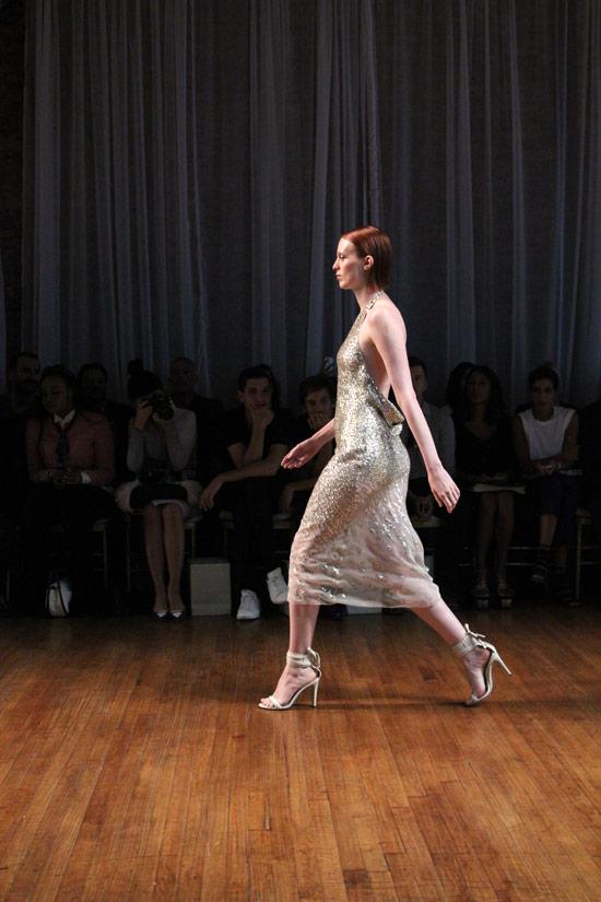 Supermodel Karen Elson killin' it in a slinky slipdress at   Jason Wu Spring 2014  .