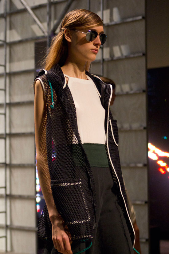 Sporty meets preppy with plenty of mesh at   Band of Outsiders Spring 2014  .