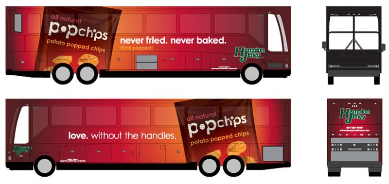 popchips ooh: hampton jitney bus wrap