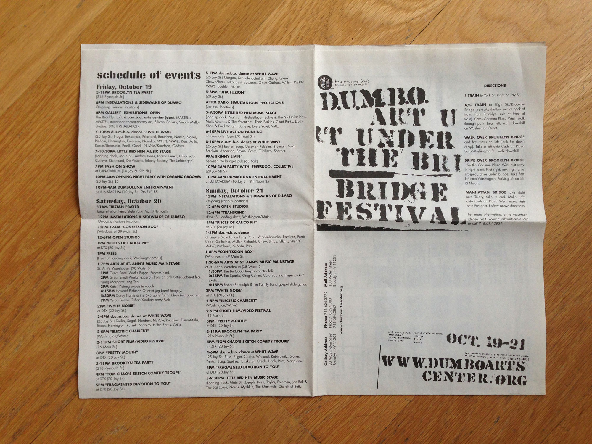 dumbo arts center: festival brochure/mailer 2001
