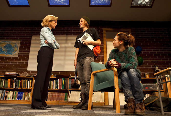 Juliet Stevenson, Johnny Flynn, and Lydia Wilson argue away the rain forests (Photo: Pete Jones)
