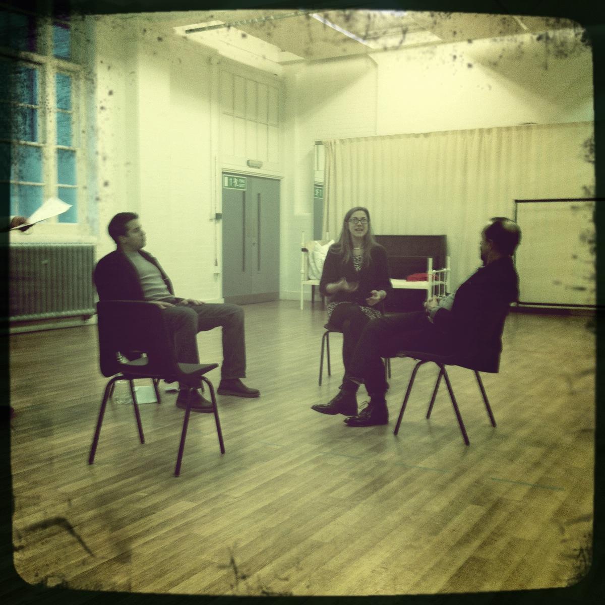 Geoffrey Lumb, Ruth Everett, Simon Gregor in rehearsal.