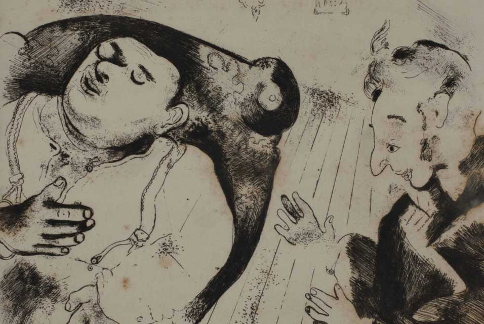 Marc Chagall Chichikov and Sobakevich after Dinner  (Etching, 1923-1927)