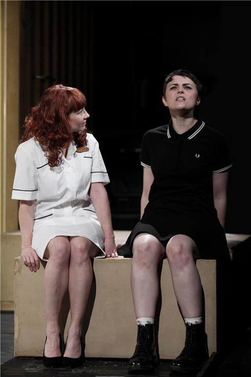 Rebecca Callard and Katie West in  Blindsided ,  not  me chairing the panel.