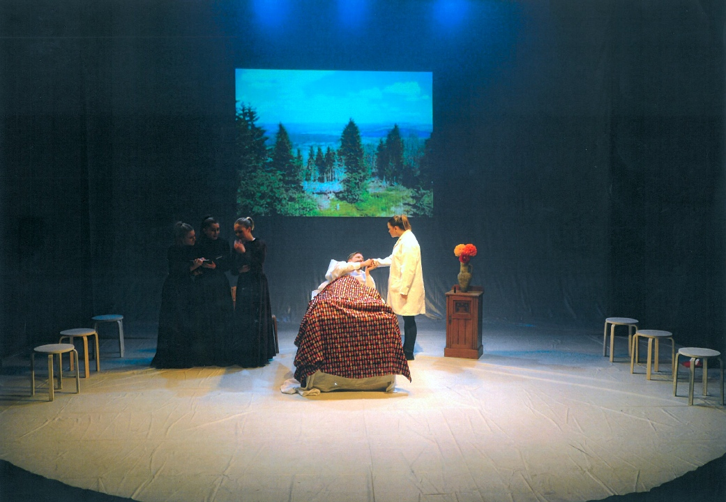 The opening scene of  Chekhov in Hell at St Bede's Senior School, East Sussex