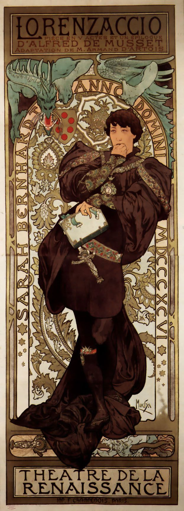Poster for the premiere of the play in 1896, in which the title role was played by Sarah Bernhardt