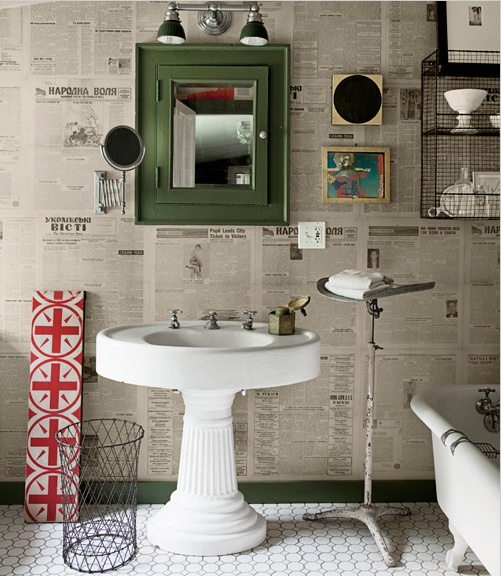 Extra, extra! Read all about it! This newspaper-printed wallpaper is quirky and fun for vintage lovers! (Photo Credit: Knotting Hill Interiors)