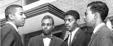 From left to right: Franklin McCain, Ezell Blair, David Richmond, and Joseph McNeil. ( Source: N.C. A&T's Bluford Library )