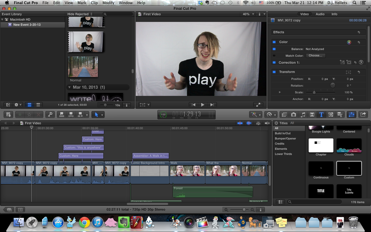 in the process of editing a video.