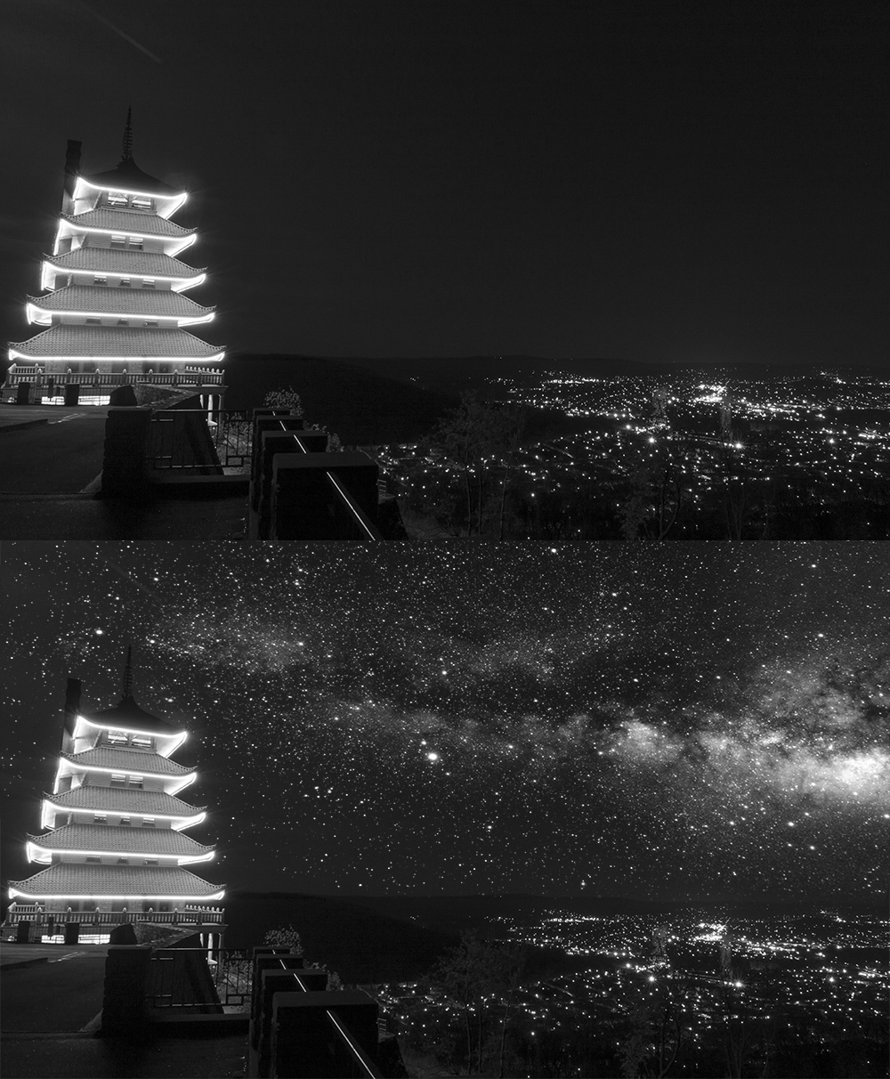 Comparison of Pagoda Starry Night Sky Photoshop Tutorial