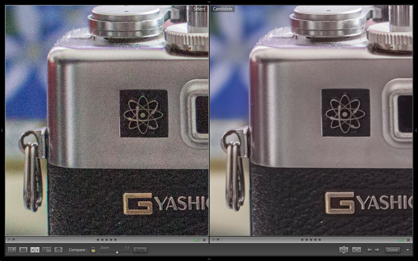 Flat Comparison At ISO 1600. Raw on Left. HDR on Right.