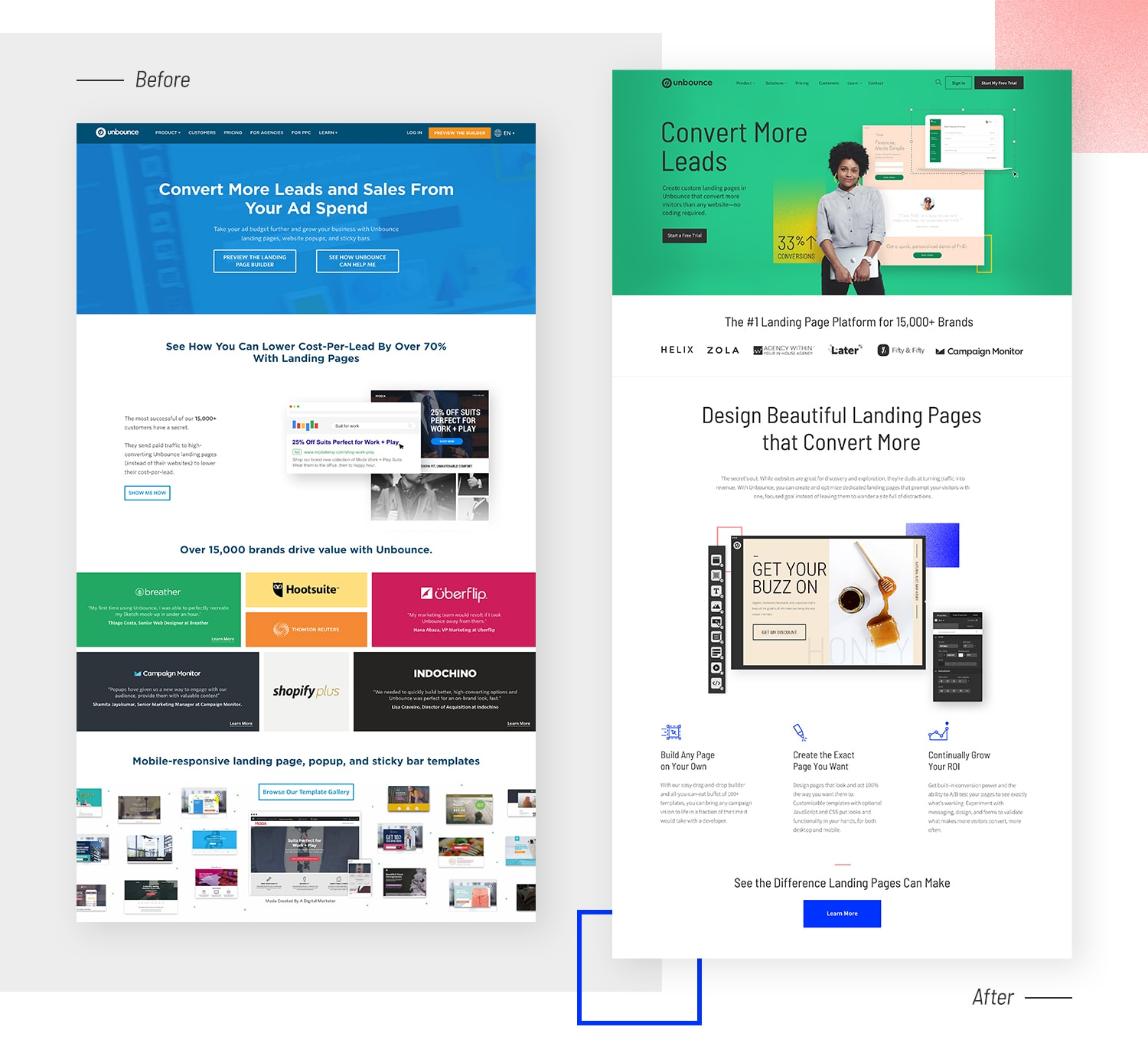 Our old, stagnant homepage vs. our new one.