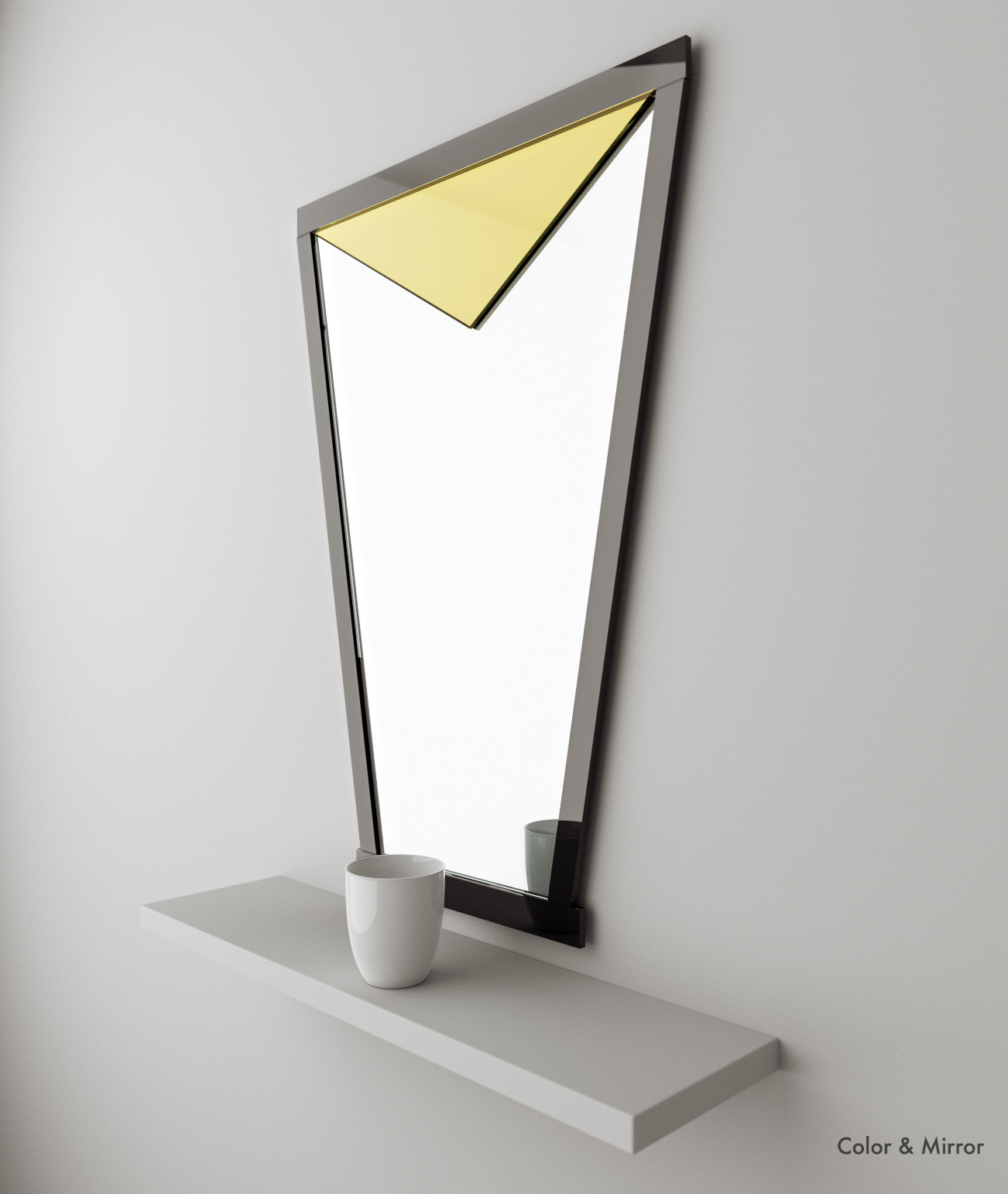Full view of Golden wall mirror