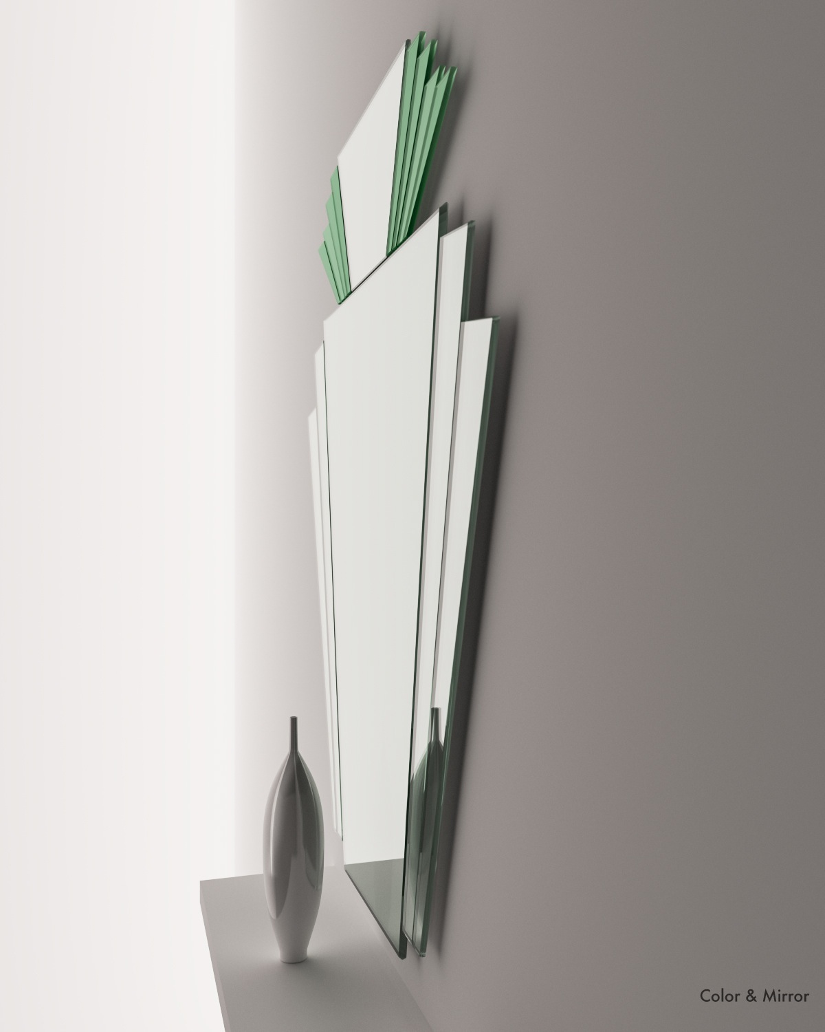 Full side view of Art Deco Green mirror by Color and Mirror