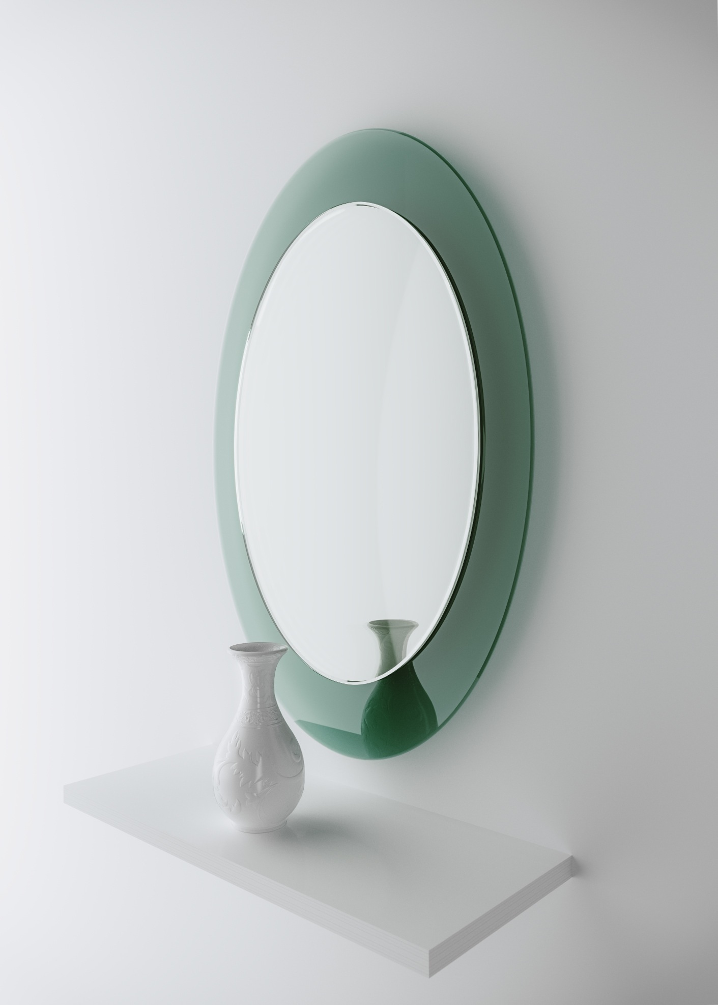 Studio photograph of aqua glass mirror by Color and Mirror.